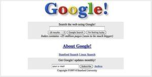 Как выглядел гугл 22 года назад