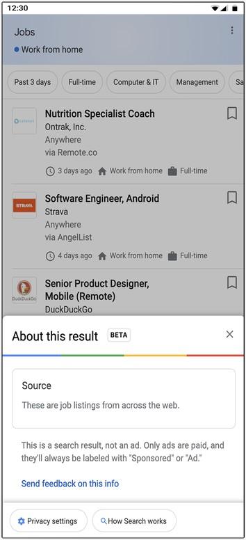 Информация о результатах поиска списков вакансий Google
