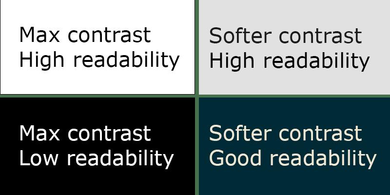 Контраст при использовании темных тем в дизайне